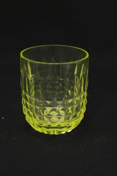 156. Szklanka z zestawu 2 form, szkło uranowe, 1970-1985