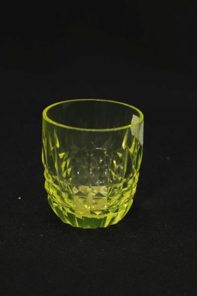 156a. Szklanka z zestawu 2 form, szkło uranowe, 1970-1985