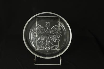 33. Talerz ORZEŁ, szkło prasowane, ok. 1989